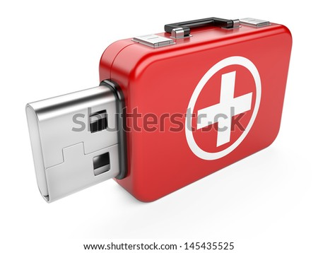 usb flash drive and first aid sign isolated on white background. 3d image - stock photo
