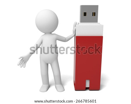 USB flash drive/3d people with a USB flash drive. 3d image. Isolated white background. - stock photo