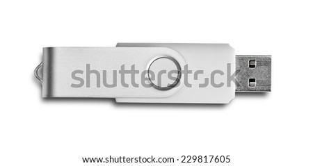Usb flash drive isolated on white - stock photo