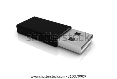 Usb Flash Drive isolated on white background - stock photo