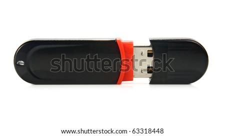 usb flash drive isolated on white background - stock photo