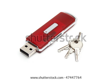 USB flash drive with a keys - stock photo