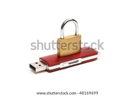 USB flash drive with a lock on a white background - stock photo