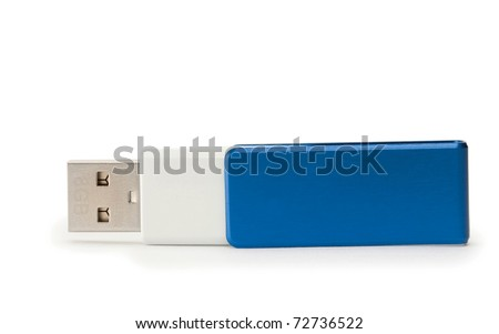 USB Flash Drive with blue handle isolated - stock photo