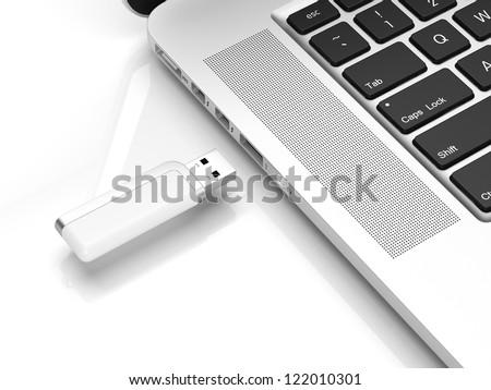 Usb flash isolated on a white background - stock photo