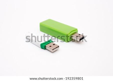 Usb flash memory close-up,isolated on white. isolated. - stock photo