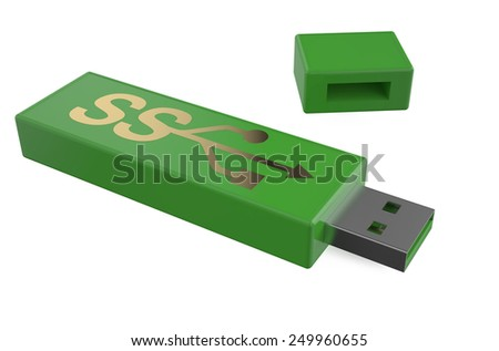 USB flashes drive ss 3.0 red isolated on white background