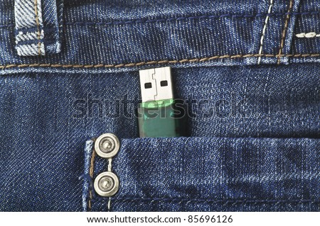 Usb key in the pant - stock photo