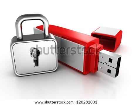 usb memory stick with locked padlock on white background - stock photo