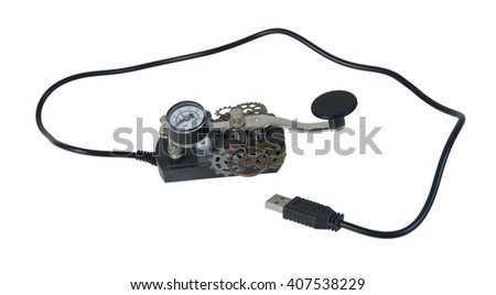USB Morse Code telegraph key used as a communication device - path included - stock photo