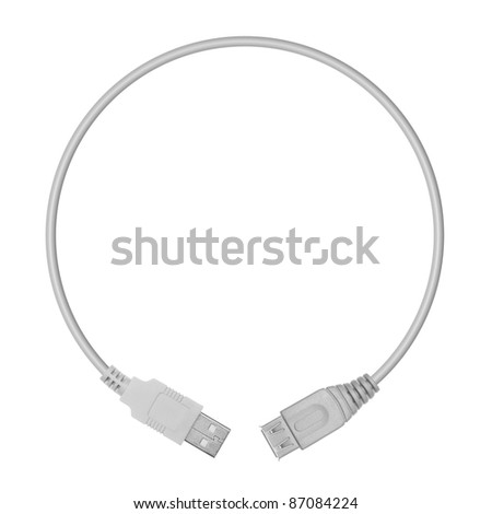 USB plugs in the form of a circle on a white background - stock photo