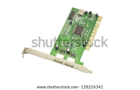 USB port card isolated on white background