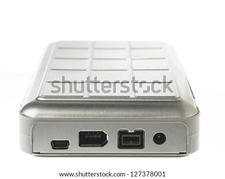 USB port of hard disk against white background. - stock photo