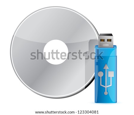 USB stick on CD stack against white background - stock photo