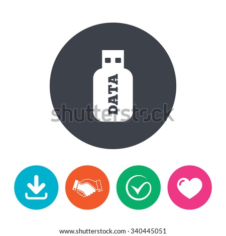 Usb Stick sign icon. Usb flash drive button. Download arrow, handshake, tick and heart. Flat circle buttons. - stock photo