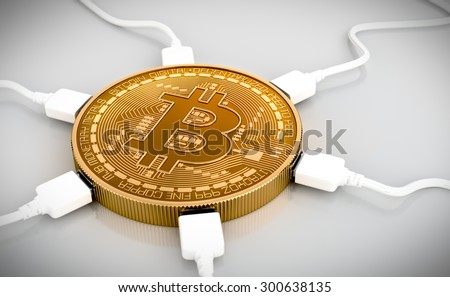 USB Wires Connected To The Bitcoin. 3D Scene. - stock photo