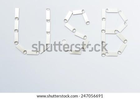 USB written by silver memory sticks - stock photo