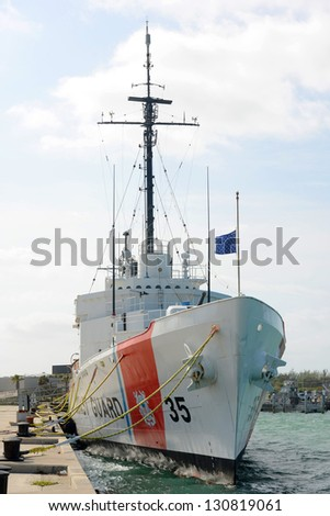 USCGC Ingham (WHEC-35), a decommissioned United States Coast Guard Cutter, was originally served in US Navy in WWII. She is the ship museum located at Key West, Florida, USA - stock photo