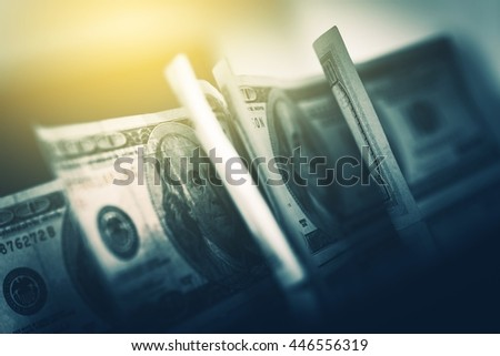 USD American Dollars in Focus. One Hundred American Dollars Banknotes Closeup Photo. - stock photo