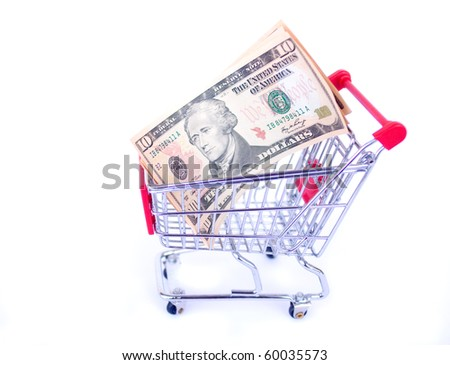 USD notes and shopping trolley