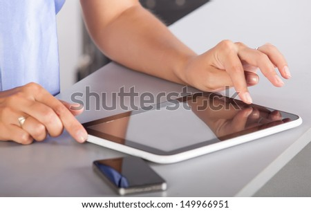 use digital technology in your hands - stock photo