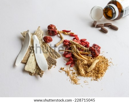 Use drugs or chinese herbs - stock photo