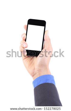 Use finger touch smart phone for order something - stock photo