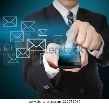 Use smart phone for send E mail information something.