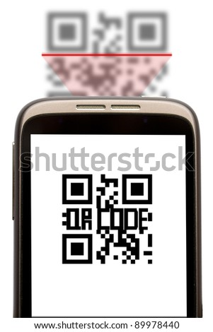 Use your quick response code for marketing, qr code when scanned with smartphone can guide to web address, text, phone number... - stock photo
