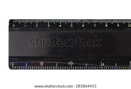 Used and broken metal black ruler isolated on white background - stock photo