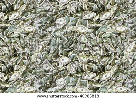 Used and broken one dollar bills texture - offset - stock photo