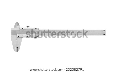 Used and dirty caliper, device used to measure on white background. - stock photo