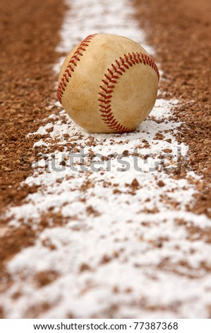 Used Baseball on the field