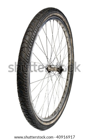 used bicycle tire isolated on white - stock photo