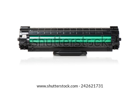 used black cartridge for laser printer isolated on white background - stock photo