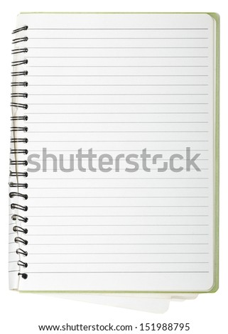 used blank note book with ring binder isolated on white - stock photo