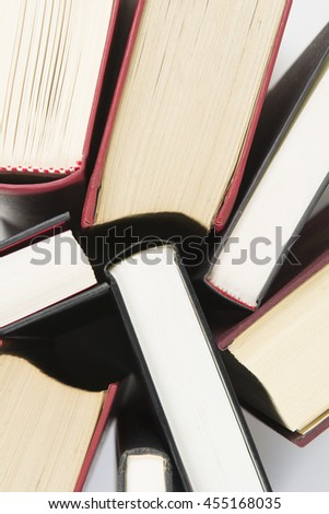 Used books with hard cover seen from above - stock photo