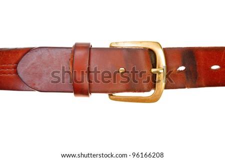 used broun leather belt - stock photo