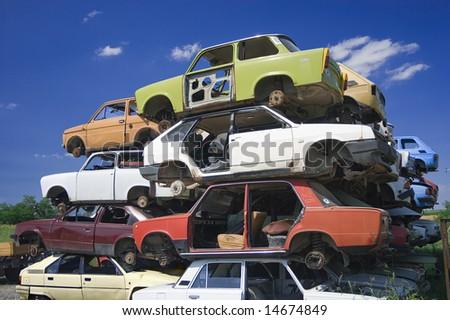used cars pyramid - stock photo