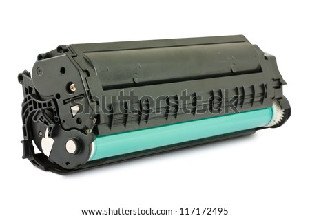 Used cartridge for laser printer isolated on white background - stock photo