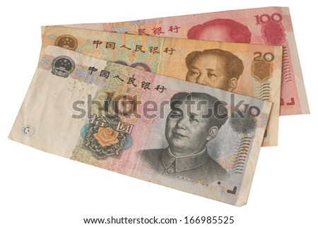 used chinese notes in white background - stock photo