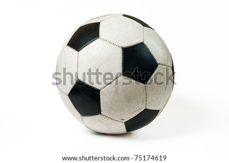 Used classic soccer ball isolated on white background with shadow. - stock photo