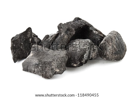 Used coal from the burning fire - stock photo