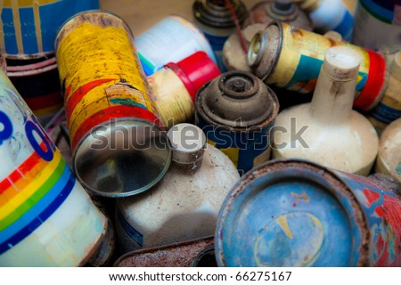 Used color cans - stock photo