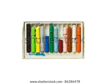 Used colored wax crayons with isolated on white - stock photo