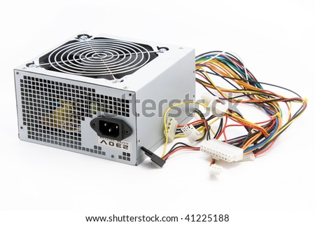 Used computer power supply on white background