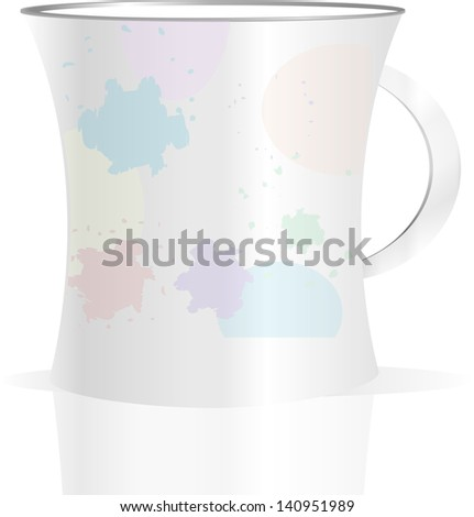 Used creamy coffee mug with blots on white background, raster - stock photo