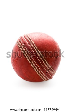 used cricket ball isolated on a white background - stock photo