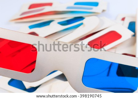 Used 3D paper glasses isolated on white background.
