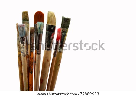 Used dirty paint brushes - stock photo
